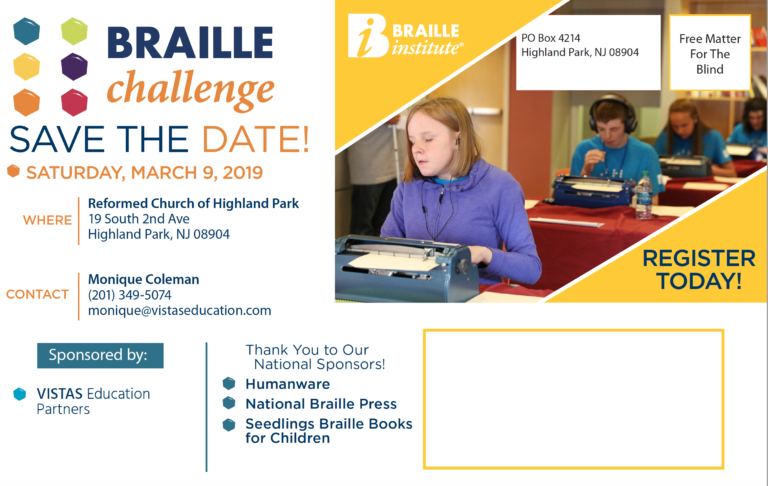 NJ Regional Braille Challenge Postcard text and pictures of students taking a Braille Challenge contest